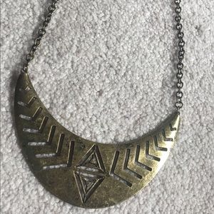 Tribal, rustic gold necklace